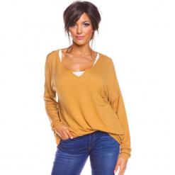 """Sweter """"Coco"""" w kolorze musztardowym. Żółte swetry damskie So Cachemire, z kaszmiru. W wyprzedaży za 165.95 zł."""