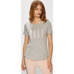 Roxy - Top. Szare topy damskie Roxy, z nadrukiem, z bawełny, z okrągłym kołnierzem, z krótkim rękawem. Za 79.90 zł.