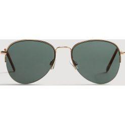 Mango Man - Okulary Aviator. Brązowe okulary przeciwsłoneczne męskie Mango Man, z materiału. Za 119.90 zł.