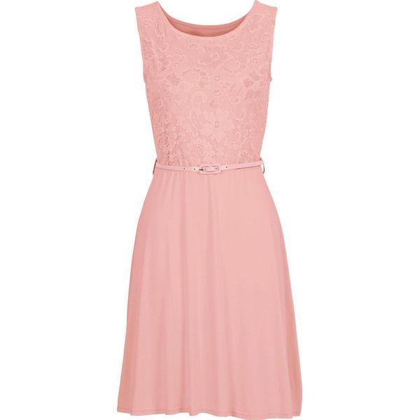 08e83e96aa Sukienka z dżerseju z koronką bonprix dymny różowy - Sukienki ...