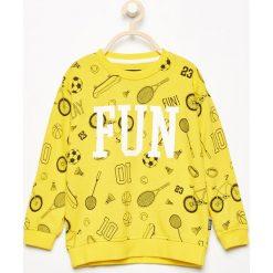 Bluza ze sportowym nadrukiem - Żółty. Bluzy dla chłopców Reserved, z nadrukiem. W wyprzedaży za 14.99 zł.