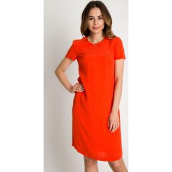 Pomarańczowa sukienka z krótkim rękawem BIALCON. Brązowe sukienki damskie BIALCON, na lato, wizytowe, z kopertowym dekoltem, z krótkim rękawem. W wyprzedaży za 209.00 zł.