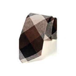 Krawat męski AMES len. Brązowe krawaty i muchy Hisoutfit, ze lnu. Za 129.00 zł.