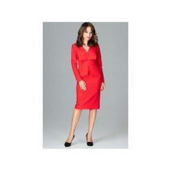 Sukienka K491 Czerwony. Czerwone sukienki damskie Lenitif, z wykładanym kołnierzem, z długim rękawem. Za 189.00 zł.