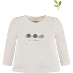 Koszulka w kolorze białym. Białe bluzki dla dziewczynek bellybutton, z nadrukiem, z bawełny, z okrągłym kołnierzem, z długim rękawem. W wyprzedaży za 35.95 zł.
