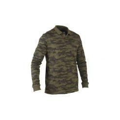 Koszulka polo 100. Brązowe bluzki z długim rękawem męskie SOLOGNAC, z bawełny, z krótkim rękawem. Za 49.99 zł.
