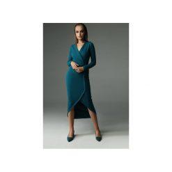 Sukienka Fern - ciemny turkus. Zielone sukienki damskie Madnezz, z aplikacjami, z bawełny, z kopertowym dekoltem. Za 309.00 zł.