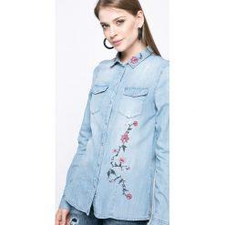 Vero Moda - Koszula. Szare koszule damskie Vero Moda, z bawełny, casualowe, z klasycznym kołnierzykiem, z długim rękawem. W wyprzedaży za 79.90 zł.