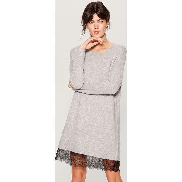 efa8eb8e Swetrowa sukienka z koronką - Jasny szar - Sukienki damskie Mohito ...