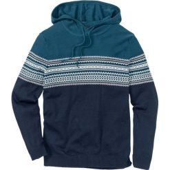 Sweter z kapturem Regular Fit bonprix niebieskozielono-biało-ciemnoniebieski. Niebieskie swetry przez głowę męskie bonprix, w prążki, z kapturem. Za 59.99 zł.