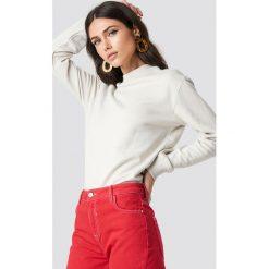NA-KD Basic Bluza basic - Beige. Brązowe bluzy damskie NA-KD Basic, prążkowane. Za 100.95 zł.