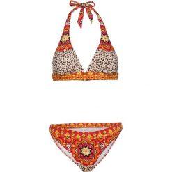 Bikini z ramiączkami wiązanymi na szyi (2 części) bonprix czerwono-pomarańczowy leo z nadrukiem. Brązowe bikini damskie bonprix, z nadrukiem. Za 89.99 zł.