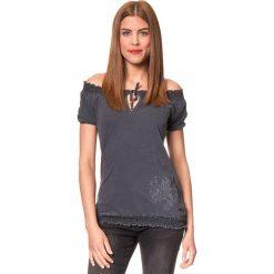 """Koszulka """"Burlesco"""" w kolorze antracytowym. T-shirty damskie Brunotti, z haftami, z bawełny, z kołnierzem typu carmen, z krótkim rękawem. W wyprzedaży za 74.95 zł."""