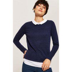 Sweter z koszulą - Granatowy. Niebieskie koszule damskie House. Za 49.99 zł.