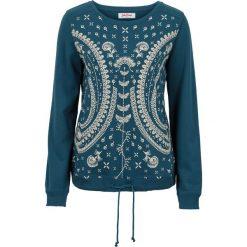 Bluza z nadrukiem, długi rękaw bonprix niebieskozielony morski. Bluzy damskie marki KALENJI. Za 32.99 zł.