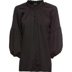 Bluzka z rękawami balonowymi bonprix czarny. Czarne bluzki damskie bonprix, ze stójką. Za 79.99 zł.