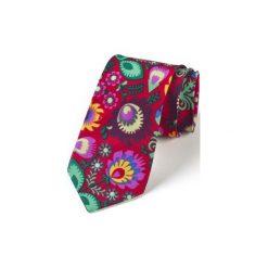 Krawat męski FOLK  w kwiaty łowickie czerwony. Czerwone krawaty i muchy Hisoutfit, w kwiaty, z materiału. Za 159.00 zł.