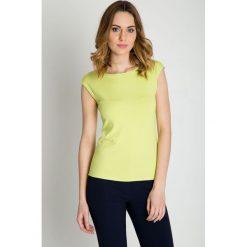 Pistacjowa bluzka z krótkim rękawem BIALCON. Zielone bluzki damskie BIALCON, z bawełny, z krótkim rękawem. W wyprzedaży za 59.00 zł.