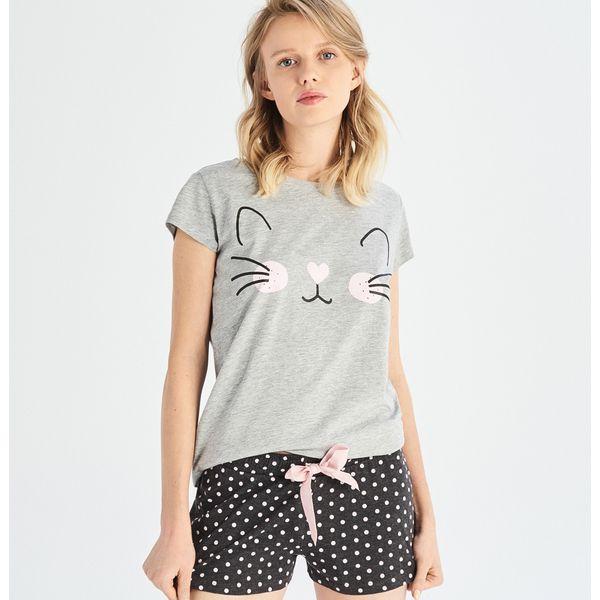 9d2909f64584ee Dwuczęściowa piżama z kocim motywem - Jasny szar - Piżamy damskie ...