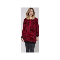 Długi sweter, SWE161 czarny/czerwony MKM. Czerwone swetry damskie Mkm swetry, z dzianiny. Za 148.00 zł.