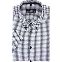 Koszula SERGIO Slim 15-10-54-K. Białe koszule męskie Giacomo Conti, na lato, w kratkę, z materiału, button down, z krótkim rękawem. Za 149.00 zł.