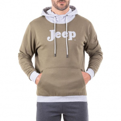 Bluza w kolorze oliwkowo-jasnoszarym. Brązowe bluzy męskie Jeep, z nadrukiem. W wyprzedaży za 114.95 zł.