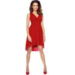 Czerwona Wyjściowa Sukienka z Kopertowym Dekoltem z Wydłużonym Tyłem. Czerwone sukienki damskie Molly.pl, z szyfonu, eleganckie, z kopertowym dekoltem, na ramiączkach. Za 154.90 zł.
