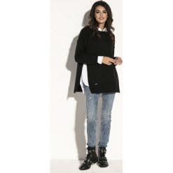 Sweter z rozcięciem fb587. Czarne swetry damskie Fobya, z golfem. Za 119.00 zł.