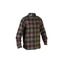 Koszula 100. Brązowe koszule męskie SOLOGNAC, z bawełny. Za 79.99 zł.