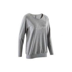 Koszulka długi rękaw do jogi damska. Niebieskie t-shirty damskie DOMYOS, ze skóry. W wyprzedaży za 39.99 zł.