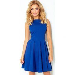 125-4 sukienka koło - dekolt łódka - cegiełka chabrowa. Niebieskie sukienki damskie NUMOCO, z dekoltem w łódkę. Za 144.00 zł.