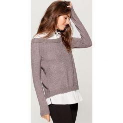 Sweter z koszulowymi elementami - Szary. Szare swetry damskie Mohito, z koszulowym kołnierzykiem. Za 119.99 zł.