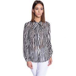 Koszula w pasy zapinana na guziki  BIALCON. Białe koszule damskie BIALCON, w paski, wizytowe. W wyprzedaży za 74.00 zł.