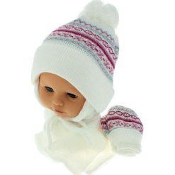 Czapka niemowlęca z szalikiem i rękawiczkami CZ+S+R 013A biała. Czapki dla dzieci marki Reserved. Za 45.90 zł.