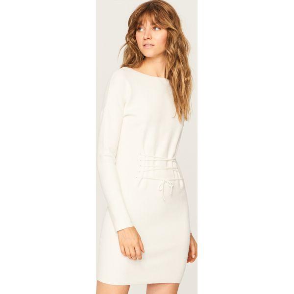 e0545d7d0d Sukienka z gorsetowym wiązaniem - Kremowy - Białe sukienki damskie ...