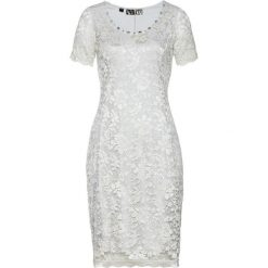 Sukienka koronkowa bonprix srebrny matowy. Szare sukienki damskie bonprix, z koronki, eleganckie, z okrągłym kołnierzem. Za 199.99 zł.