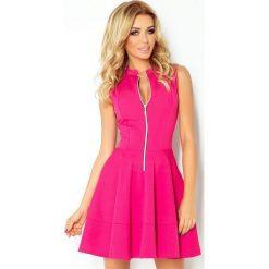123-8 sukienka z ekspresem z przodu i kieszonkami - malina. Różowe sukienki damskie NUMOCO, z długim rękawem. Za 139.00 zł.