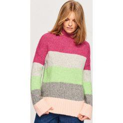 Sweter z domieszką alpaki - Wielobarwn. Swetry damskie marki bonprix. Za 79.99 zł.