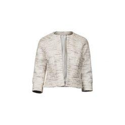 Żakiet chanel biało - czarny. Białe żakiety damskie Diamond dust, z bawełny, eleganckie. Za 600.00 zł.