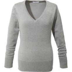 Sweter z dekoltem w serek bonprix jasnoszary melanż. Swetry damskie marki bonprix. Za 59.99 zł.