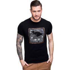 T-shirt NICODEMO TSCS000022. Czarne t-shirty męskie Giacomo Conti, z aplikacjami, z bawełny. Za 79.00 zł.