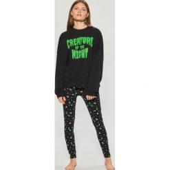 Dwuczęściowa piżama z motywem Halloween - Czarny. Piżamy damskie marki bonprix. W wyprzedaży za 49.99 zł.