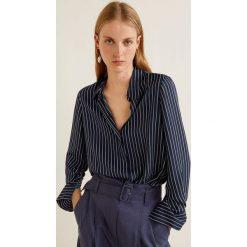 Mango - Koszula Angelica. Czarne koszule damskie Mango, w paski, z materiału, klasyczne, z klasycznym kołnierzykiem, z długim rękawem. Za 89.90 zł.