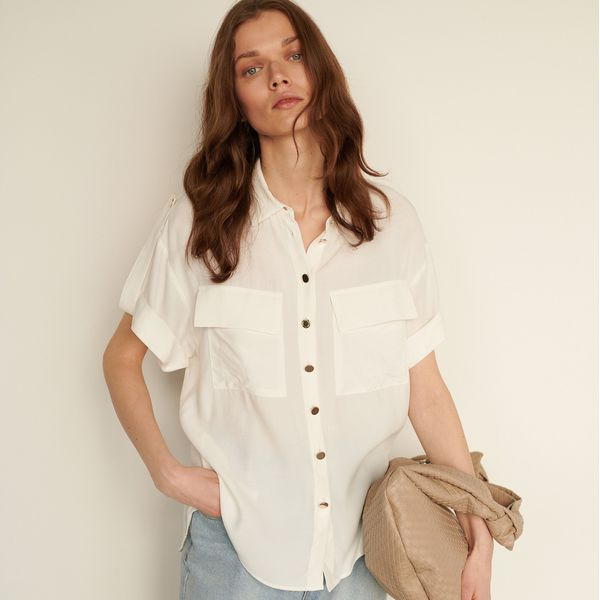 Koszula z kieszeniami Biały Białe koszule damskie  bKOjX