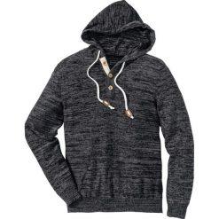 Długi sweter bez zapięcia, z kapturem Slim Fit bonprix czarno biały melanż