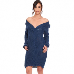 """Sukienka """"Samantha"""" w kolorze morskim. Niebieskie sukienki damskie Cosy Winter, ze splotem, z długim rękawem. W wyprzedaży za 159.95 zł."""