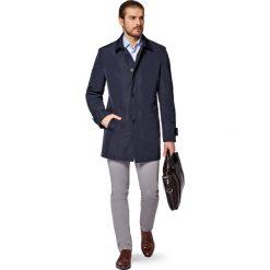 Płaszcz Granatowy Avoliano. Niebieskie płaszcze męskie LANCERTO, na wiosnę, z jeansu, biznesowe. W wyprzedaży za 399.90 zł.
