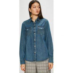 Wrangler - Koszula. Szare koszule damskie Wrangler, z bawełny, casualowe, z klasycznym kołnierzykiem, z długim rękawem. Za 259.90 zł.
