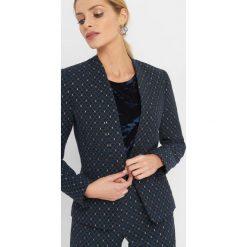 Taliowany żakiet z żakardu. Niebieskie żakiety damskie Orsay, z haftami, z bawełny, eleganckie. Za 149.99 zł.