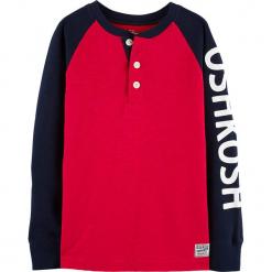 Koszulka w kolorze różowo-granatowym. Czerwone t-shirty dla chłopców OshKosh, z nadrukiem, z bawełny, z długim rękawem. Za 59.95 zł.